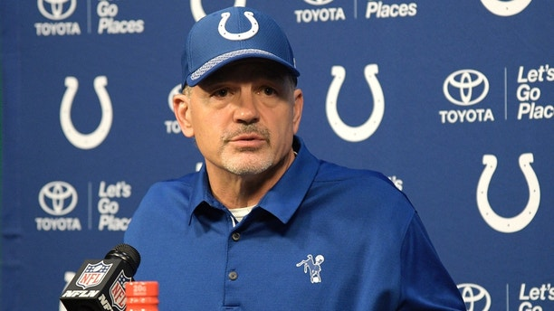 Indianapolis Colts head coach Chuck Pagano answers a question from a reporter during a post-game news conference after an NFL football game against the Jacksonville Jaguars Sunday, Dec. 3, 2017, in Jacksonville, Fla. The Jaguars won 30-10. (AP Photo/Phelan M. Ebenhack)