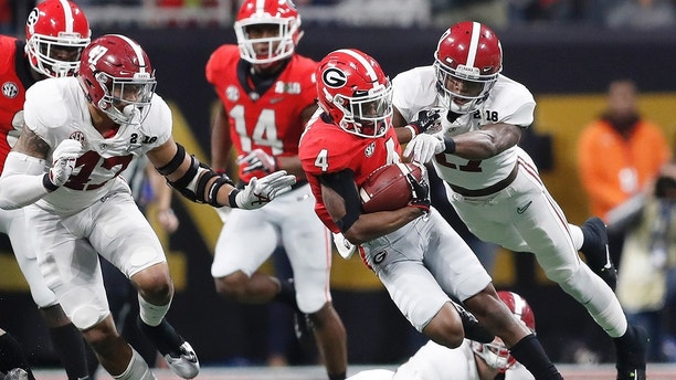 Georgia wide receiver Mecole Hardman runs during the second half of the NCAA college football playoff championship game against Alabama Monday, Jan. 8, 2018, in Atlanta. (AP Photo/David Goldman)