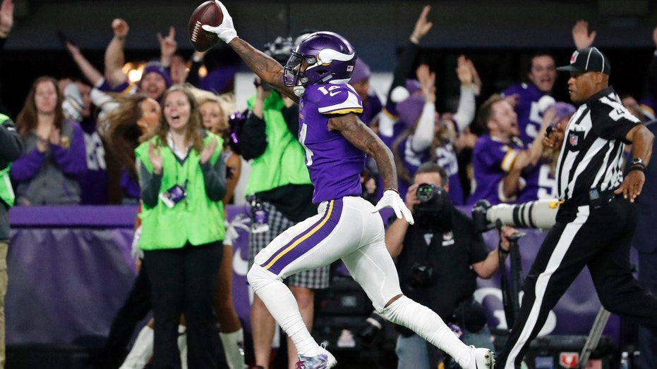 Stefon Diggs runs into the end zone for the winning touchdown with no time left on the clock.