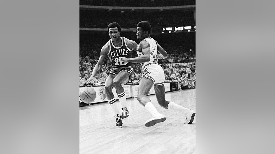Jo Jo White, pictured during a 1977 game against the Chicago Bulls, played a key role on the Celtics' 1974 and 1976 NBA champions