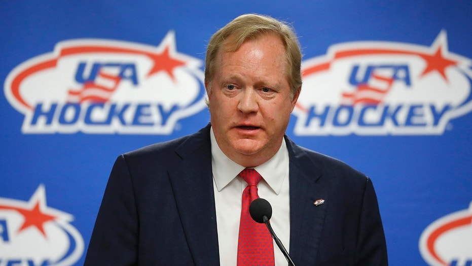 This Aug. 4, 2017 file photo shows Jim Johannson speaking during a news conference in Plymouth, Mich. Johannson, the general manager of the U.S. Olympic men's hockey team, has died just a couple weeks before the start of the Pyeongchang Games, Sunday, Jan. 21, 2018