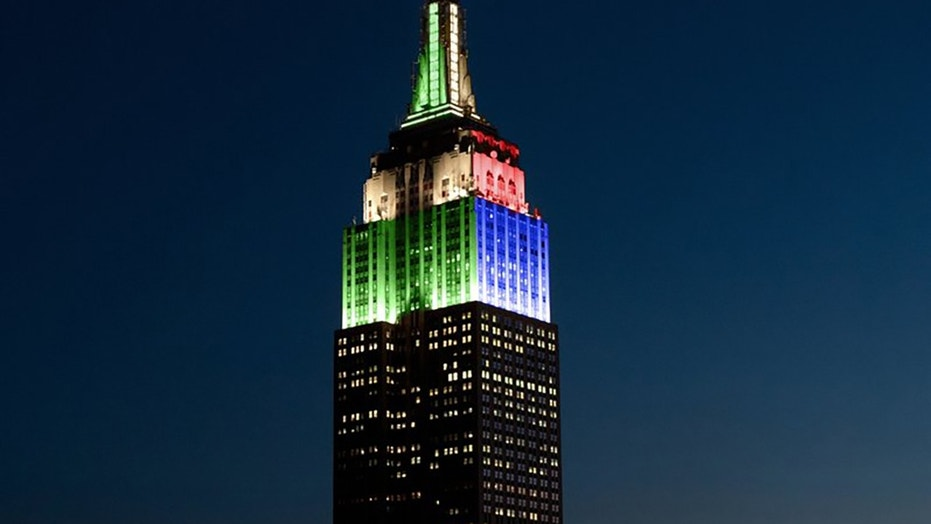 The Empire State Building lights up Sunday to show support for the Philadelphia Eagles and New England Patriots.