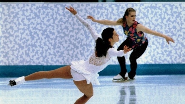 US skaters Nancy Kerrigan and Tonya Harding skate during a practice