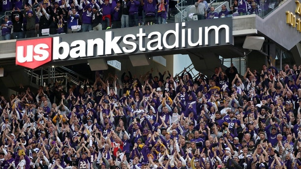 Jan 14, 2018; Minneapolis, MN, USA; Fans cheer during the first quarter in the NFC Divisional Playoff football game between the Minnesota Vikings and the New Orleans Saints at U.S. Bank Stadium. Mandatory Credit: Brace Hemmelgarn-USA TODAY Sports - 10543773