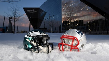 Jan 31, 2018; Minneapolis, MN, USA; General overall view of Philadelphia Eagles and New England Patriots helmets at U.S. Bank Stadium prior to Super Bowl LII. Mandatory Credit: Kirby Lee-USA TODAY Sports - 10579235