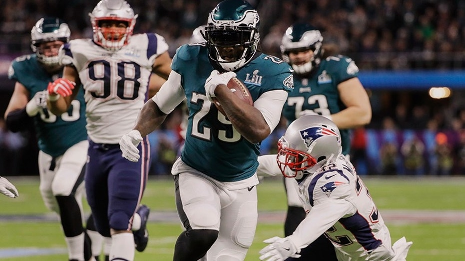 Feb. 4, 2018: Philadelphia Eagles running back LeGarrette Blount (29) runs for a touchdown, during the first half of the NFL Super Bowl 52 football game against the New England Patriots.