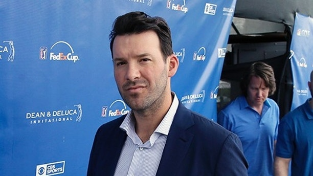 FILE - This May 27, 2017 file photo shows former NFL quarterback Tony Romo leaving the broadcast booth after appearing on air during the third round of the Dean & DeLuca Invitational golf tournament at Colonial Country Club in Fort Worth, Texas. Romo has accepted an exemption to play a PGA Tour event in March in the Dominican Republic. (AP Photo/LM Otero, file)