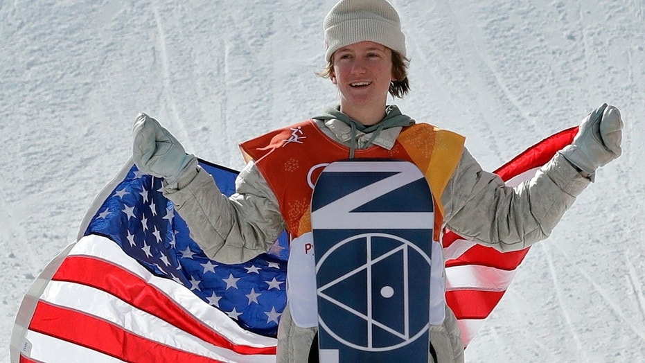 Red Gerard, of the United States, smiles after winning gold in the men's slopestyle final at Phoenix Snow Park at the 2018 Winter Olympics in Pyeongchang, South Korea, Sunday, Feb. 11, 2018.