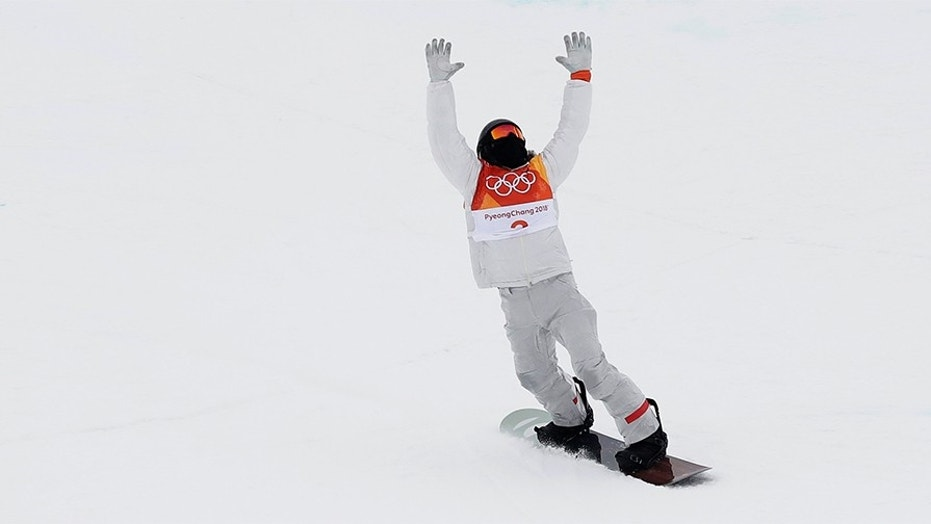 Shaun White, of the United States, finishes his run during the men's halfpipe finals at Phoenix Snow Park at the 2018 Winter Olympics in Pyeongchang, South Korea, Wednesday, Feb. 14, 2018.