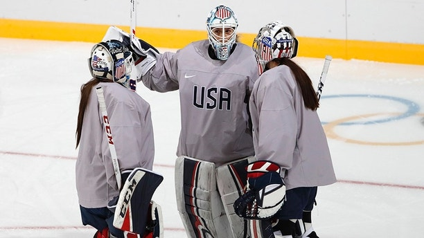 Ice Hockey – Pyeongchang 2018 Winter Olympics – Women's Training - Kwandong Hockey Centre, Gangneung, South Korea – February 10, 2018 - Team USA goaltenders Madeline Rooney, Alex Rigsby, Nicole Hensley. REUTERS/Kim Kyung-Hoon - HP1EE2A0A4Q3K