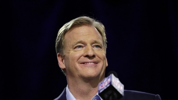 NFL Commissioner Roger Goodell smiles as he speaks during a news conference in advance of the Super Bowl 52 football game, Wednesday, Jan. 31, 2018, in Minneapolis. The Philadelphia Eagles play the New England Patriots on Sunday, Feb. 4, 2018. (AP Photo/Matt Slocum)