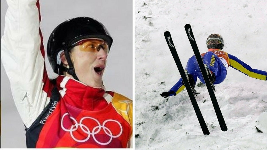 """Australian Olympic athlete turned analyst Jacqui Cooper, left, came under scrutiny for appearing to say Chinese athletes """"all look the same."""" At right is Chinese skier Xu Mengtao."""
