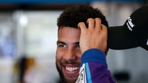 Darrell Wallace Jr. relaxes in his garage during practice for the NASCAR Daytona 500 auto race at Daytona International Speedway, Saturday, Feb. 17, 2018, in Daytona Beach, Fla. (AP Photo/John Raoux)