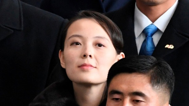 North Korea's leader Kim Jong Un's younger sister Kim Yo Jong arrives at Incheon International Airport, South Korea,  in this photo taken by Kyodo February 9, 2018.  Mandatory credit Kyodo/via REUTERS   ATTENTION EDITORS - THIS IMAGE HAS BEEN SUPPLIED BY A THIRD PARTY. NOT FOR SALE FOR MARKETING OR ADVERTISING CAMPAIGNS. MANDATORY CREDIT. JAPAN OUT. NO COMMERCIAL OR EDITORIAL SALES IN JAPAN. THIS PICTURE WAS PROCESSED BY REUTERS TO ENHANCE QUALITY. AN UNPROCESSED VERSION WILL BE PROVIDED SEPARATELY. - RC1A99AA3200