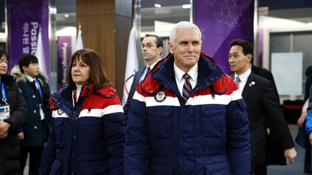 Vice President Mike Pence, right, attends the opening ceremony of the 2018 Winter Olympics in Pyeongchang, South Korea, alongside his second wife Karen Pence, Friday, February 9, 2018. (AP Photo / Patrick Semansky, Pool)