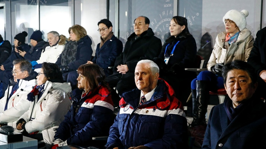 Vice President Mike Pence (bottom right) sits at the opening ceremony of the 2018 Winter Olympics in Pyeongchang, South Korea, between second wife Karen Pence and Japanese Prime Minister Shinzo Abe. Behind Pence sit Kim Yong Nam (third from the top right), President of the North Korean Parliament's Bureau, and Kim Yo Jong (top right), sister of North Korean leader Kim Jong Un.