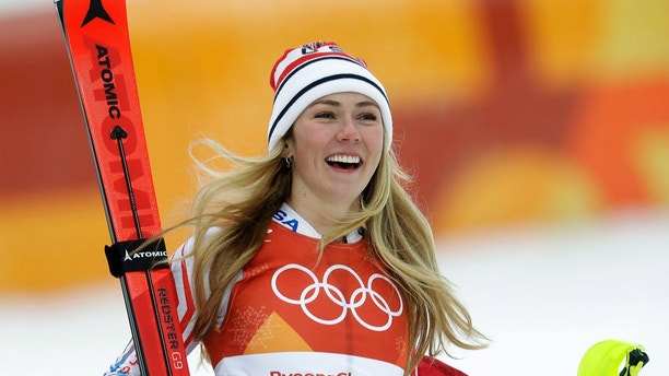 United States' Mikaela Shiffrin smiles after competing in the women's combined slalom at the 2018 Winter Olympics in Jeongseon, South Korea, Thursday, Feb. 22, 2018. (AP Photo/Michael Probst)