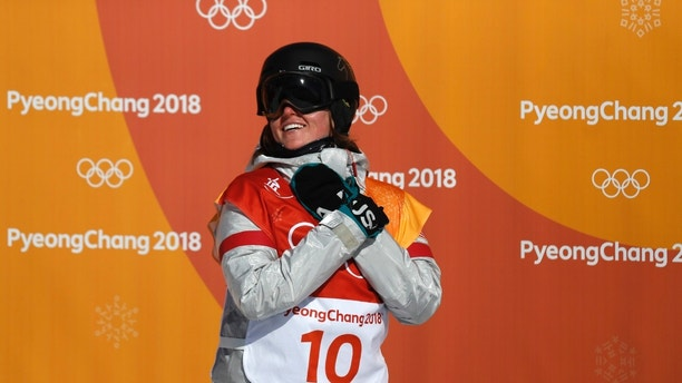 Snowboarding - Pyeongchang 2018 Winter Olympics - Women's Halfpipe Finals - Phoenix Snow Park - Pyeongchang, South Korea - February 13, 2018 - Arielle Gold of the U.S. reacts after her final run. REUTERS/Jorge Silva - DEVEE2D06DLUP
