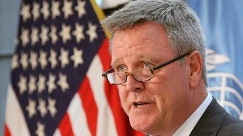FILE - In this Aug. 1, 2017, file photo, Scott Blackmun, CEO of the U.S. Olympic Committee, speaks at Yongsan Garrison, a U.S. military base in Seoul, South Korea. Blackmun is resigning as CEO of the US Olympic Committee, citing health problems as the reason he'll depart after leading the federation for more than eight years. The 60-year-old CEO was diagnosed with prostate cancer earlier this winter, and did not attend the Pyeongchang Games. He announced his resignation Wednesday, Feb. 28, 2018, and Susanne Lyons, a member of the board, will serve as acting CEO. (AP Photo/Lee Jin-man, File)