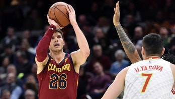 Dec 12, 2017; Cleveland, OH, USA; Cleveland Cavaliers guard Kyle Korver (26) attempts a three-point basket in the second quarter against the Atlanta Hawks at Quicken Loans Arena. Mandatory Credit: David Richard-USA TODAY Sports - 10475164