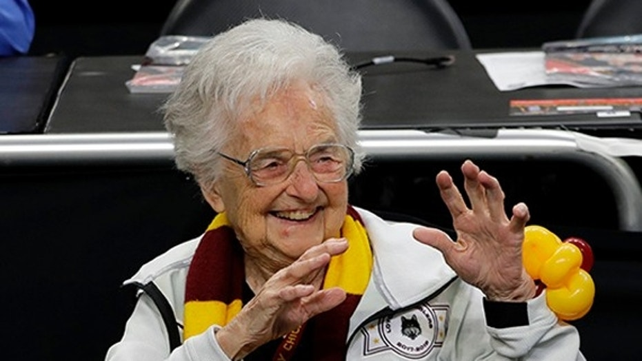 Loyola-Chicago is angry after reports circulated Saturday that the 98-year-old left the Alamodome in San Antonio early.