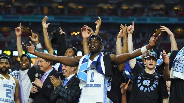 Apr 3, 2017; Phoenix, AZ, USA; North Carolina Tar Heels forward Theo Pinson (1) celebrates after defeating the Gonzaga Bulldogs in the championship game of the 2017 NCAA Men's Final Four at University of Phoenix Stadium. Mandatory Credit: Bob Donnan-USA TODAY Sports - 9992202