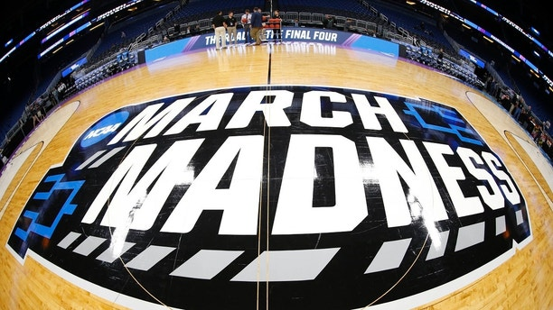 Mar 16, 2017; Orlando, FL, USA; General view of the March Madness logo prior to the game between the Maryland Terrapins and the Xavier Musketeers in the first round of the NCAA Tournament at Amway Center. Mandatory Credit: Kim Klement-USA TODAY Sports - 9947716