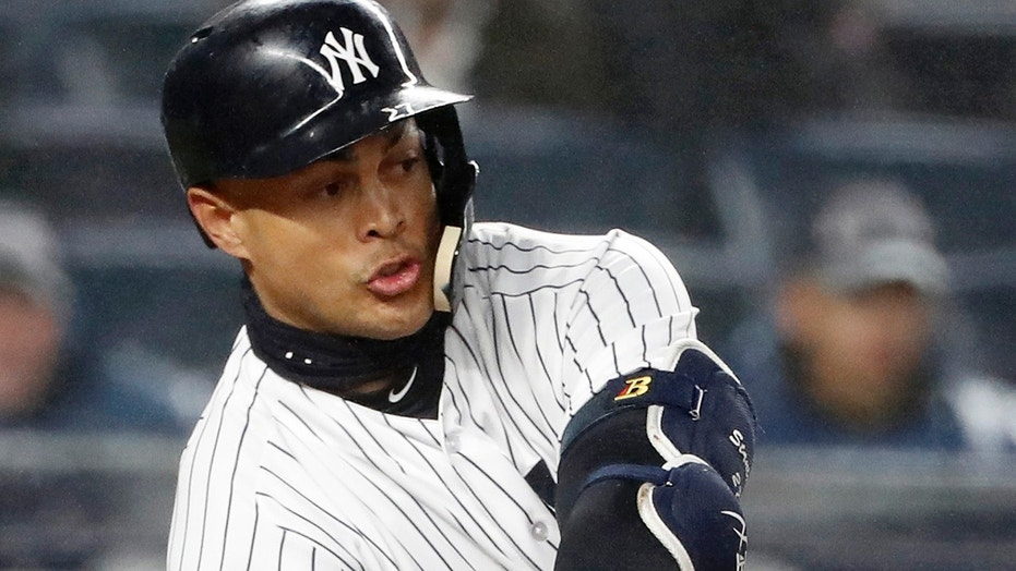 April 3, 2018: New York Yankees' Giancarlo Stanton strikes out for the fifth time in a baseball game against the Tampa Bay Rays in New York.