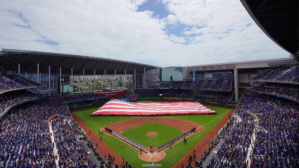 Mar 29, 2018; Miami, FL, USA; A general view during the national anthem prior to the game between the Miami Marlins and the Chicago Cubs at Marlins Park. Mandatory Credit: Jasen Vinlove-USA TODAY Sports - 10745155