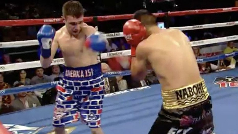 American boxer Rod Salka, wearing boxing trunks that depicted a border wall, was beaten by his Mexican opponent Francisco Vargas Thursday in Southern California.