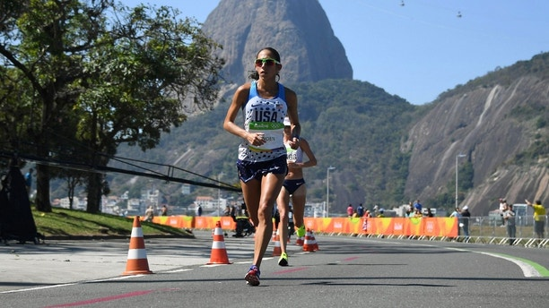 2016 Rio Olympics - Athletics - Final - Women's Marathon -Sambodromo - Rio de Janeiro, Brazil - 14/08/2016. Desiree Linden (USA) of USA competes      REUTERS/Johannes Eisele/Pool   FOR EDITORIAL USE ONLY. NOT FOR SALE FOR MARKETING OR ADVERTISING CAMPAIGNS.   - RIOEC8E18WB8V