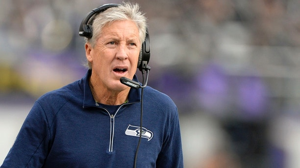 Dec 13, 2015; Baltimore, MD, USA;  Seattle Seahawks head coach Pete Carroll walks down the sidelines during the second half against the Baltimore Ravens at M&T Bank Stadium. Seattle Seahawks defeated Baltimore Ravens 35-6.  Mandatory Credit: Tommy Gilligan-USA TODAY Sports  / Reuters Picture Supplied by Action Images  (TAGS: Sport American Football NFL) *** Local Caption *** 2015-12-13T212432Z_1458457358_NOCID_RTRMADP_3_NFL-SEATTLE-SEAHAWKS-AT-BALTIMORE-RAVENS.JPG - MT1ACI14221982