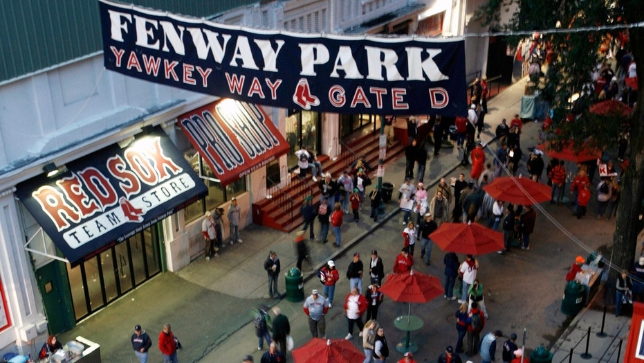 Fans gather on Yawkey Way outside Fenway Park in Boston prior to Game 1 of the 2007 World Series.