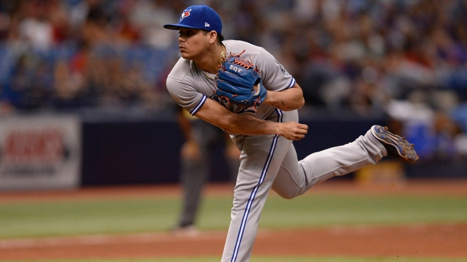 Toronto Blue Jays relief pitcher Roberto Osuna was arrested Tuesday on an assault charge, police said.