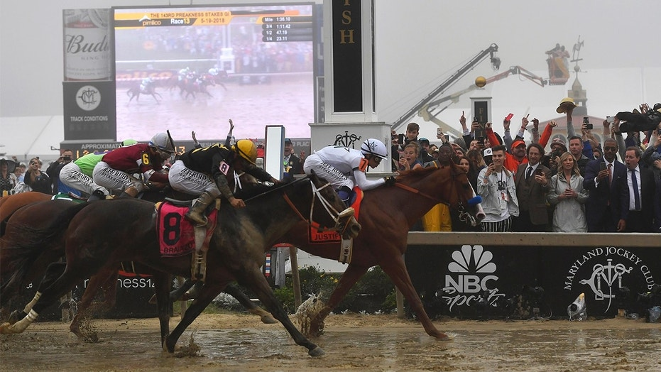 Justify with jockey Mike Smith atop wins the 143rd Preakness Stakes horse race at Pimlico Race Course on Saturday in Baltimore. Bravazo with Luis Saez aboard wins second with Tenfold with Ricardo Santana Jr. atop places.