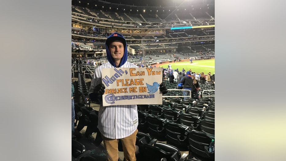 """Connor Jagemann, 21, said he found out that Mets pitcher Noah Syndergaard, known as """"Thor,"""" blocked him over a year and a half ago when he received the message """"Noah Syndergaard has blocked you."""""""