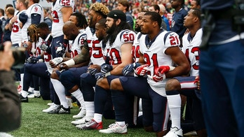 Oct 29, 2017; Seattle, WA, USA; Houston Texans inside linebacker Benardrick McKinney (55), linebacker Ben Heeney (50), strong safety Marcus Gilchrist (21) and teammates kneel during the national anthem before kickoff against the Seattle Seahawks at CenturyLink Field. Mandatory Credit: Joe Nicholson-USA TODAY Sports - 10379864