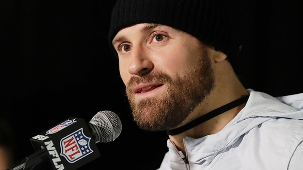 Philadelphia Eagles defensive end Chris Long takes part in a media availability for the NFL Super Bowl 52 football game Thursday, Feb. 1, 2018, in Minneapolis. Philadelphia is scheduled to face the New England Patriots Sunday. (AP Photo/Eric Gay)