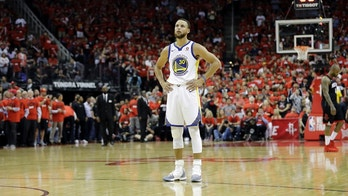 Golden State Warriors guard Stephen Curry (30) stands on the court during a break in the action during the second half in Game 2 of the NBA basketball Western Conference Finals against the Houston Rockets, Wednesday, May 16, 2018, in Houston. (AP Photo/David J. Phillip)