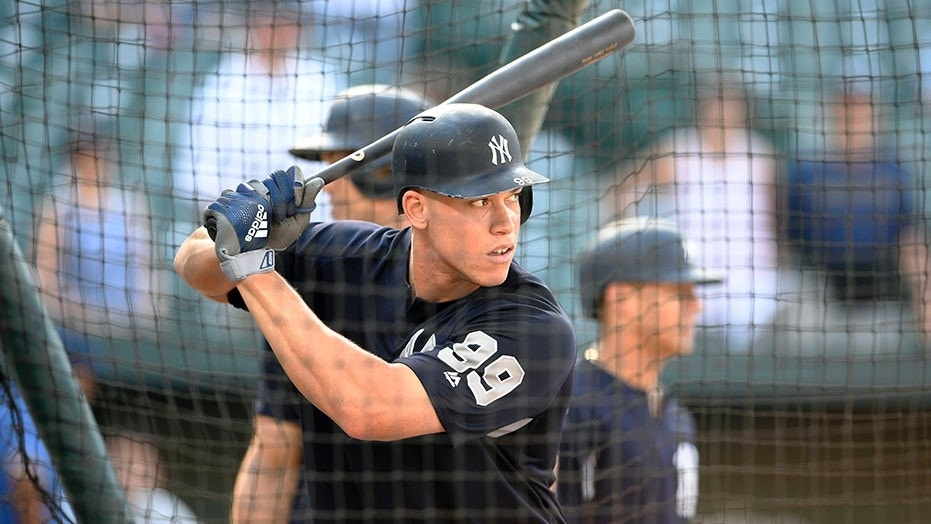 Yankees' Aaron Judge takes batting practice before the team's baseball game against the Baltimore Orioles.