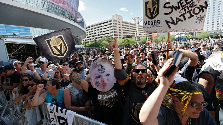 May 28, 2018: Fans gather outside T-Mobile Arena prior to Game 1 of the NHL hockey Stanley Cup Finals between the Vegas Golden Knights and the Washington Capitals.