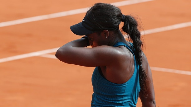 Sloane Stephens of the U.S. reacts after missing a ball against Romania's Simona Halep in the final match of the French Open tennis tournament at the Roland Garros stadium in Paris, France, Saturday, June 9, 2018. (AP Photo/Michel Euler)