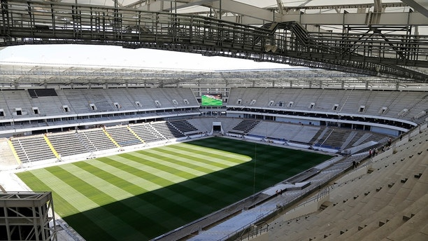 In this photo taken on Thursday, Sept. 21, 2017, the World Cup stadium in Rostov-on-Don, Russia. (AP Photo)
