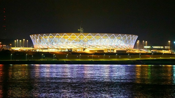 In this photo taken on Friday, April 13, 2018, a view on the new the World Cup stadium in Volgograd, Russia. (AP Photo/Dmitriy Rogulin)