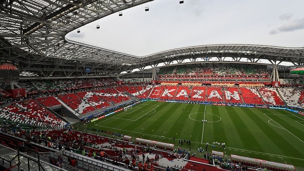 In this photo taken on Saturday, June 24, 2017, a general view of the Kazan Arena stadium in Kazan, Russia. (AP Photo/Sergei Grits)