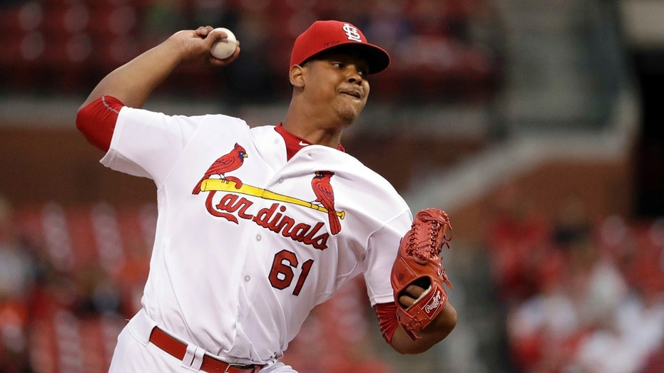 FILE - In this Sept. 29, 2016, file photo, St. Louis Cardinals starting pitcher Alex Reyes throws during the first inning of a baseball game against the Cincinnati Reds in St. Louis.