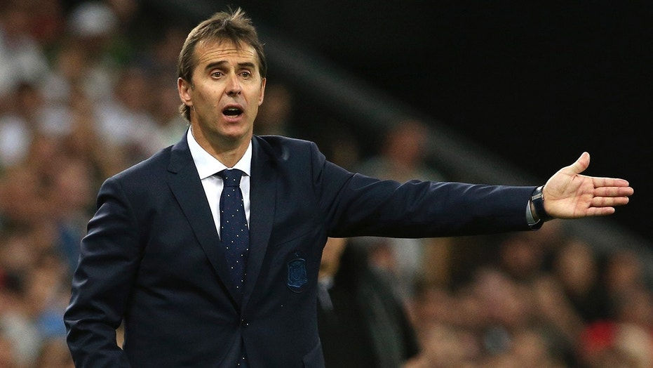In this June 9, 2018 file photo, Spain's national soccer team coach Julen Lopetegui shouts during a friendly soccer match between Spain and Tunisia in Krasnodar, Russia.