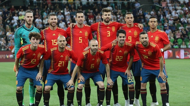 In this photo taken on Saturday, June 9, 2018 Spain'a team pose prior to a friendly soccer match between Spain and Tunisia in Krasnodar, Russia. (AP Photo)
