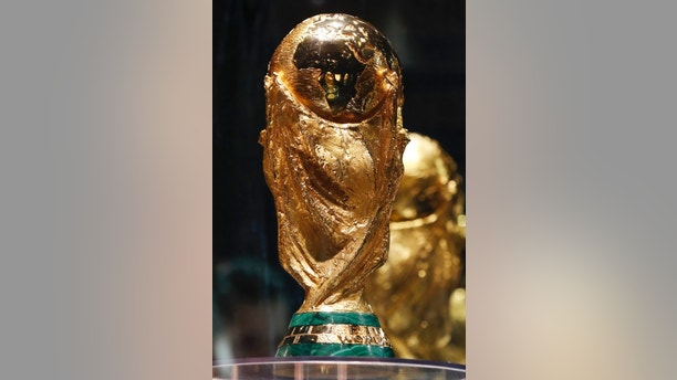 The FIFA World Cup trophy is on display in Moscow, Russia, Wednesday, June 6, 2018. (AP Photo/Pavel Golovkin)