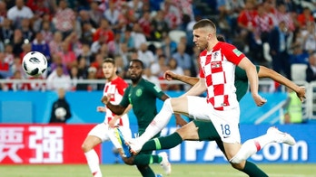 Croatia's Ante Rebic kicks the ball during the group D match between Croatia and Nigeria at the 2018 soccer World Cup in the Kaliningrad Stadium in Kaliningrad, Russia, Saturday, June 16, 2018. (AP Photo/Petr David Josek)